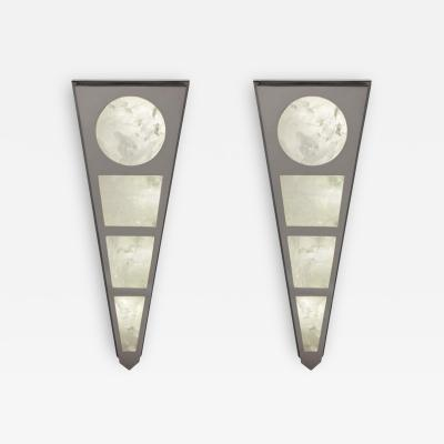 Alexandre Vossion MOON II SILVER EDITION Pair of Rock Cristal wall lights