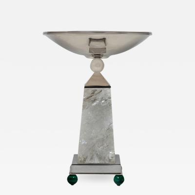 Alexandre Vossion OBELISK ROCK CRYSTAL CHALICE Nickel plated brass and malachite details