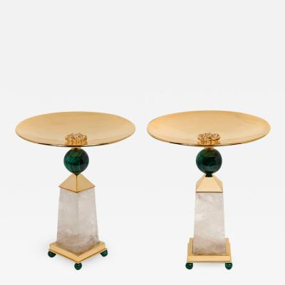 Alexandre Vossion PAIR OF OBELISK ROCK CRYSTAL CHALICE 24K Gold plated brass and malachite details