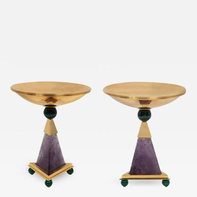 Alexandre Vossion PYRAMID AMETHYST CHALICES Pair of amethyst and 24K gold plated brass bowls