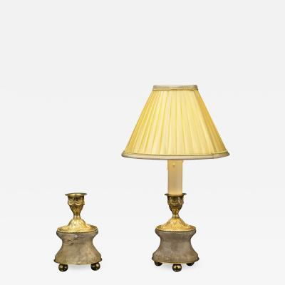 Alexandre Vossion Pair of Rock Crystal and Gilt Bronze Lamps Candlesticks Louis XVI Style