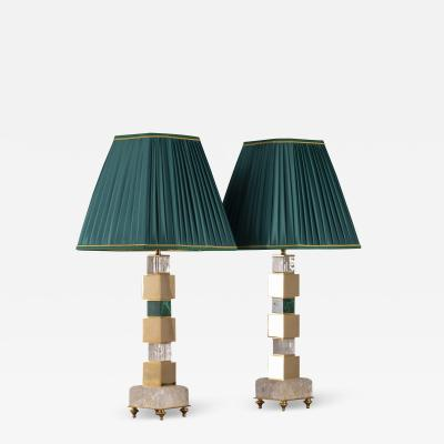 Alexandre Vossion Pair of Rock Crystal and Malachite Lamps by Alexandre Vossion