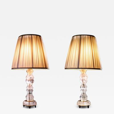 Alexandre Vossion Rock Crystal Louis the XV th Style Lamps