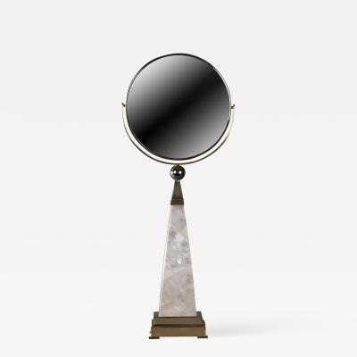 Alexandre Vossion Rock crystal and brass AIKO hand mirror