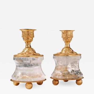 Alexandre Vossion Rock crystal pair of candlestick