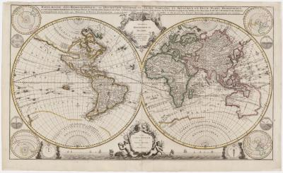 Alexis Hubert Jaillot A majestic large format set of World Continents