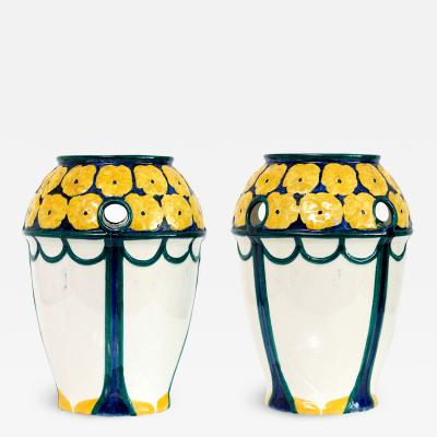 Alf Wallander PAIR OF ALF WALLANDER VASES WITH YELLOW FLOWERS ON BLUE Sweden Rorstrand