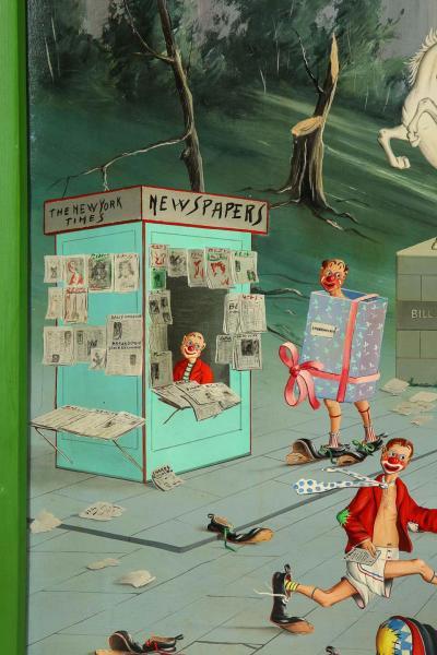 Alfano Dardari Surrealist Clowns Painting Oil on Canvas
