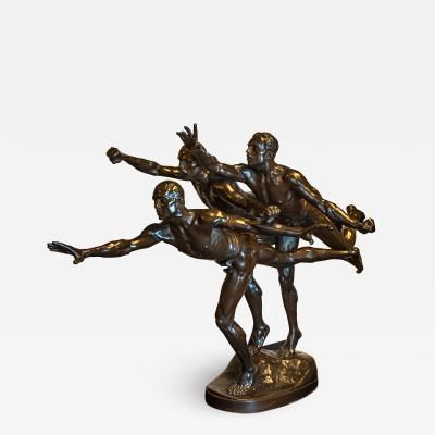 Alfred Boucher A Fine Large Patinated Bronze Figural Group Entitled Au But