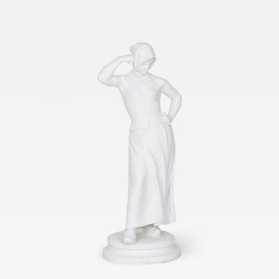 Alfred Boucher La Faneuse Antique White Porcelain Bisque Sculpture by Alfred Boucher