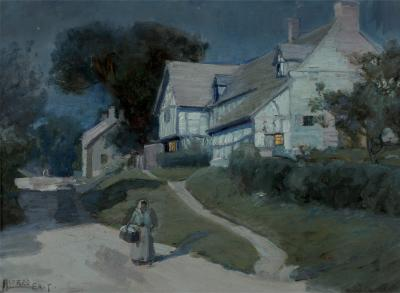 Alfred East Moonlit Night in Blue