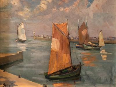 Alfred Genasi Post Impressionist oil of Sailboats in Brittany
