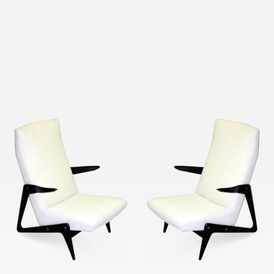 Alfred Hendrickx Important Pair of Belgian Mid Century Modern Lounge Chairs by Alfred Hendrickx