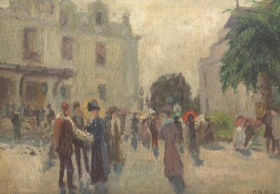 Alfred Hermann Helberger Boulevard Scene with Figures