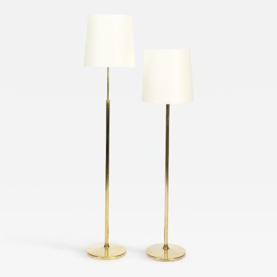 Alfred M ller Pair of Amba floor lamps with brass base new lampshade 40s