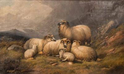 Alfred Morris Large Antique 19th Century English Oil Painting Mountain Landscape With Sheep