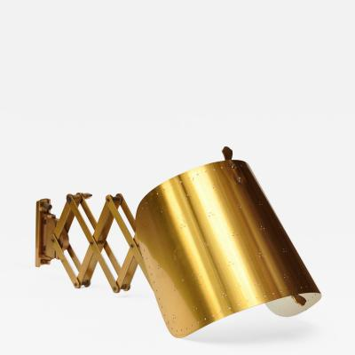 Alfred Muller Brass Accordion Wall Lamp Alfred Muller Basel 1940s