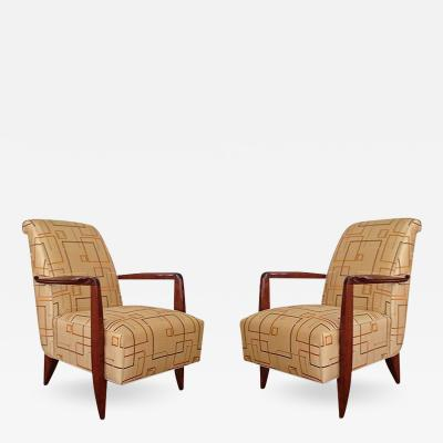 Alfred Porteneuve Pair of Art Deco Armchairs