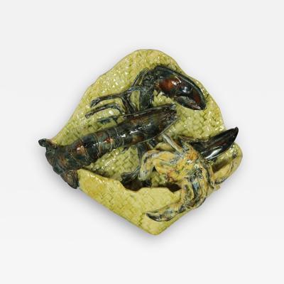 Alfred Reneloeau Palissy Crab Lobster Wall Pocket