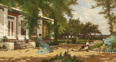 Alfred Thompson Bricher In My Neighbors Garden