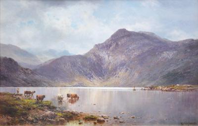 Alfred de Breanski Lochnagar 19th Century Landscape Oil Painting of the Scottish Highlands