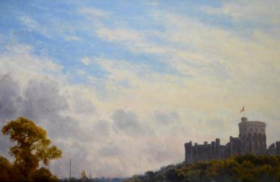 Alfred de Breanski Windsor Castle from the River Thames Large 19th Century Oil Painting