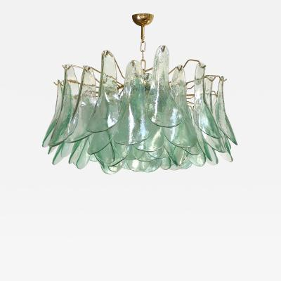 Alfredo Barbini Green Clear Glass Chandelier by Alfredo Barbini