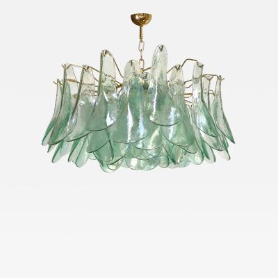 Alfredo Barbini Green Clear Glass Chandelier by Alfredo Barbini