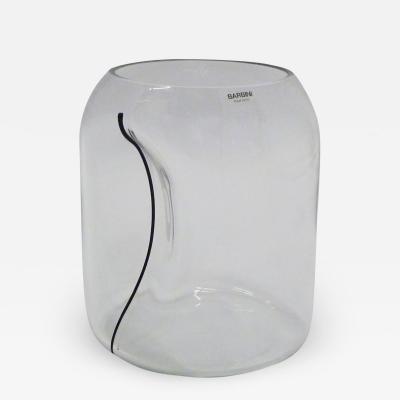 Alfredo Barbini Large Barbini Clear Murano Glass Vase Indented w Black Stripe