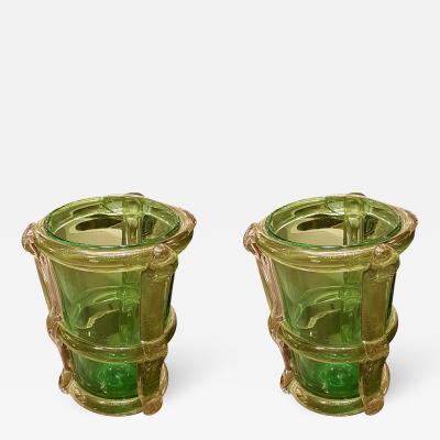 Alfredo Barbini Large Murano Green Glass Mid Century Modern Pair of Vases attr to Barbini