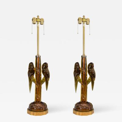 Alfredo Barbini Magnificent Pair of Amber Murano Glass Parrot Lamps by Alfredo Barbini