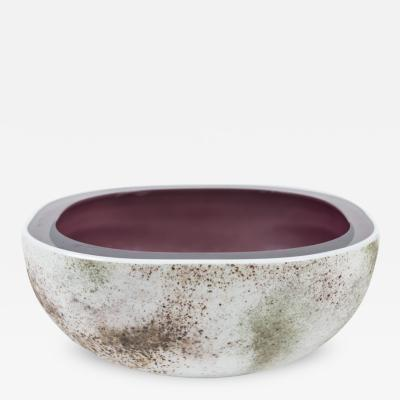 Alfredo Barbini Murano Glass Crater Bowl by Barbini