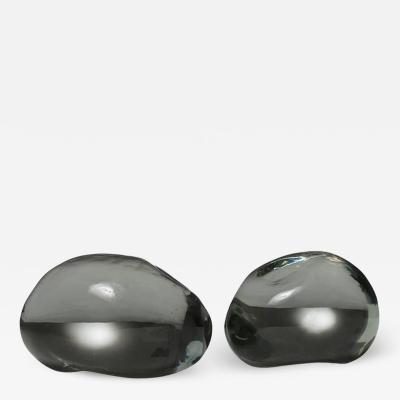 Alfredo Barbini Pair of Solid Glass Stones by Barbini