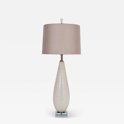 Alfredo Barbini Tall Alfredo Barbini for Murano Ribbed Opaline Table Lamp with Gold inclusions