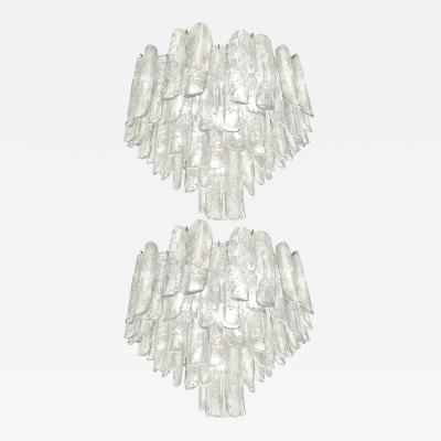Alfredo Barbini Very Rare Pair of Large Barbini Textured Glass Chandeliers