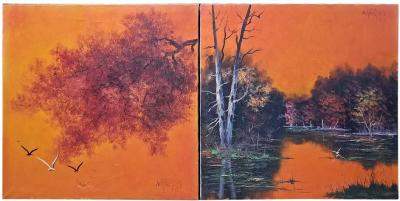 Alfredo Fred Sabater Pair of Fred Sabater Oils on Canvas