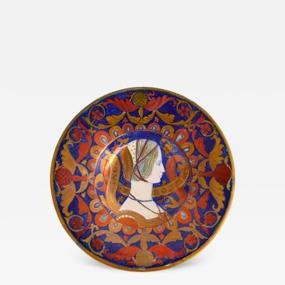 Alfredo Santarelli Majolica Decorative Plate by Alfredo Santarelli Depicting Nonnina Strozzi