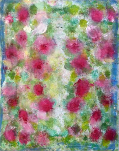 Alfredo Ulloa Monumental Abstract Bloom Oil on Canvas by Alfredo Ulloa