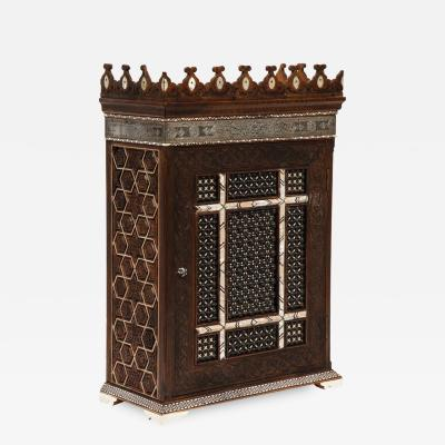Alhambra Islamic Silver Mother of Pearl and Bone Inlaid Wall Hanging Cabinet