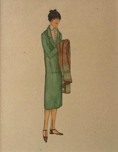 Alice Butler Harpers Bazaar Model in Green Circa 1917 1920