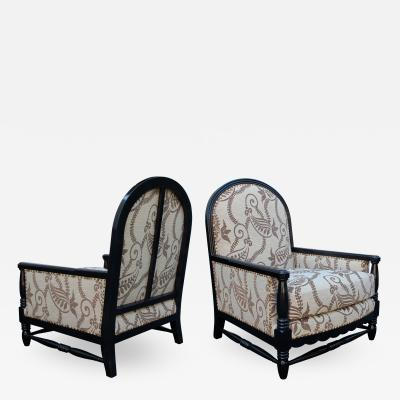 Alice Courtois Pair of French Art Deco Brown lacquered Club Chairs by Alice Courtois Paris