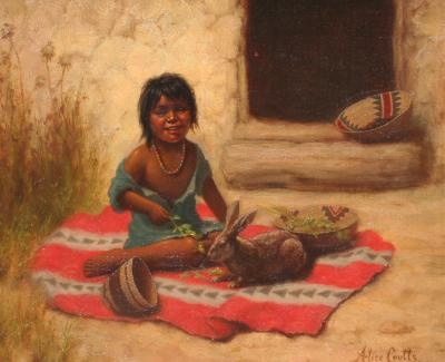 Alice Hobbs Mrs Gordon Coutts Native American Girl with Rabbit
