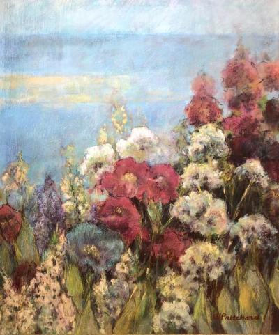 Alice Pritchard Seaside Garden With Flowers American Woman Artist Alice Pritchard