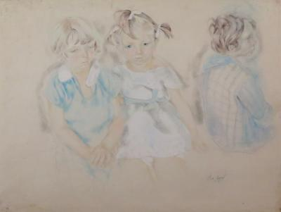 Alix Aym Three Young Children in Blue