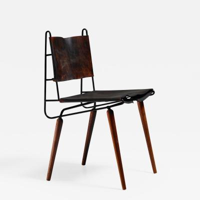 Allan Gould Allan Gould leather iron and wood chair USA 1950s