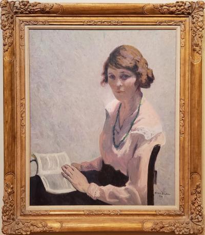 Allen Tucker Woman Reading A Book an Oil Painting Portrait signed by Allen Tucker