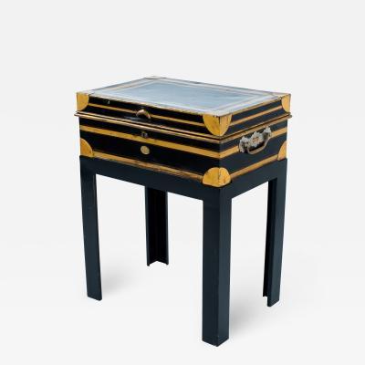 Allibhoy Vallijee Sons English Diamond Jubilee Dispatch Box on custom iron stand