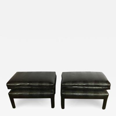 Alligator or Crocodile Faux Black Leather Cushioned Foot Stools or Benches Pair