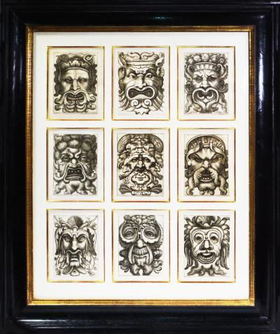 Aloisio Giovannoli Giovannoli Four Groups of Nine Grotesque Masks 1781