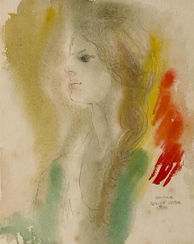 Alonzo Hauser Jeaninne 7 1 68 Watercolor Signed Alonzo Hauser